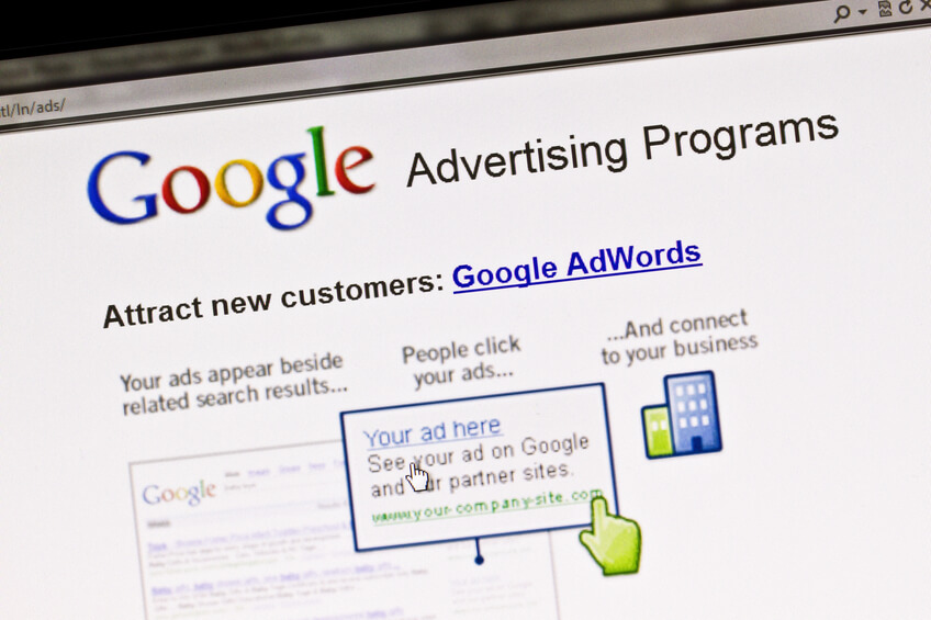 Screen displays Google advertising program