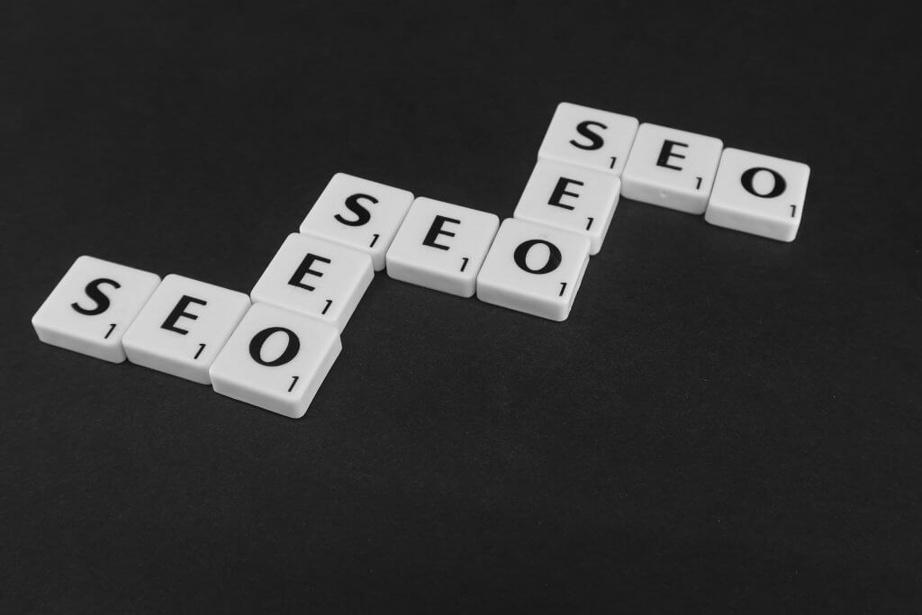 seo strategy concept spelled on black background