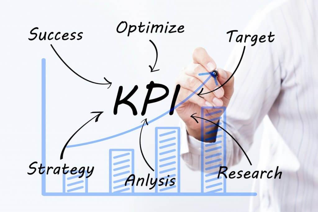 Man writing graph about KPIs