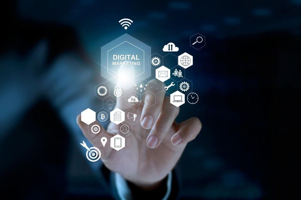 business woman touching digital marketing concept scheme