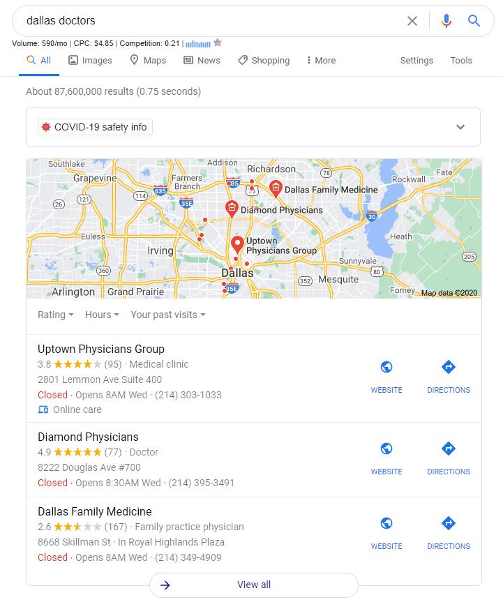 Google Search screenshot of local doctors in Dallas