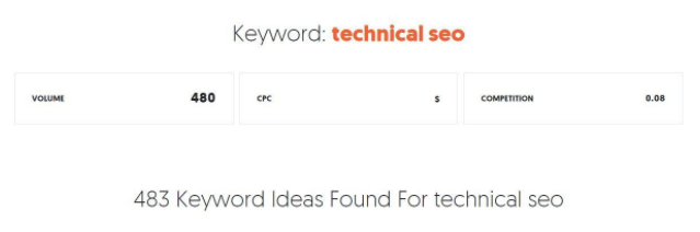 Technical Search Screenshot